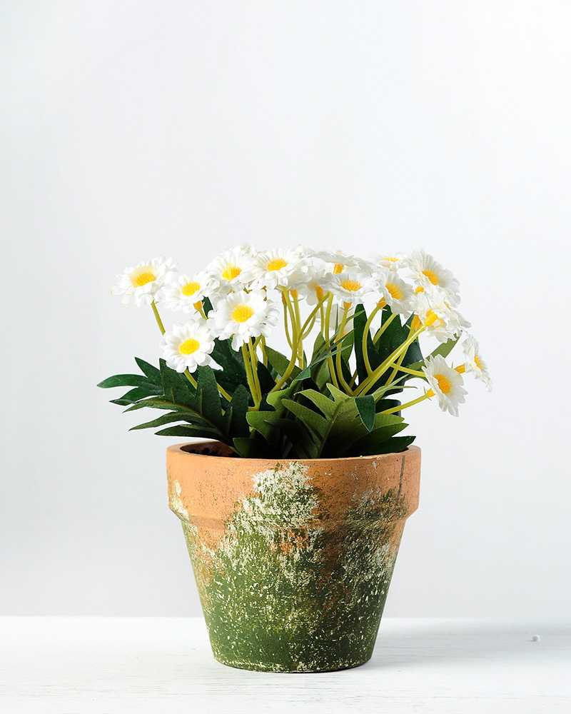 14cm Daisy Silk Flower In Paper Pulp Pot Artificial Flowers