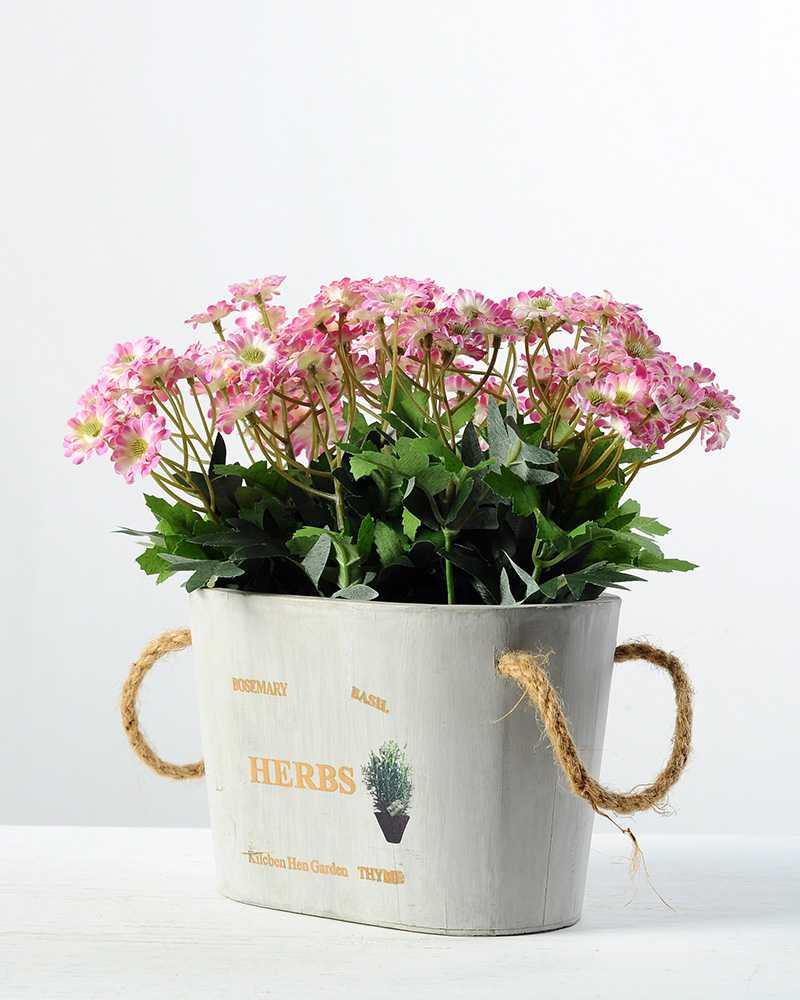 22cm Daisy Silk Flower In Wooden Pot Artificial Flowers Factory