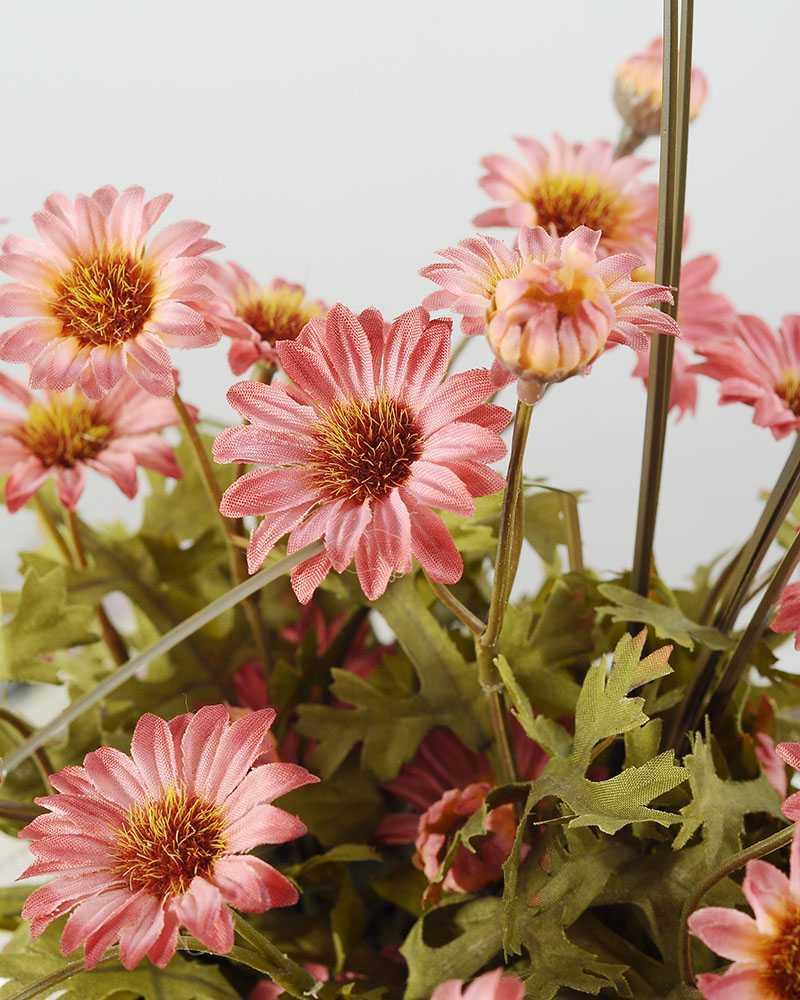 22cm Daisy With Wood Planter Silk Flower Arrangement Artificial