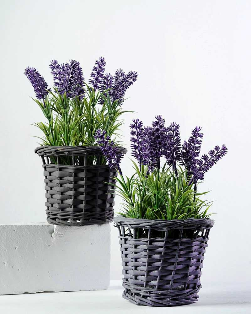 24cm Lavender Silk Flower In Basket Artificial Flowers Factory