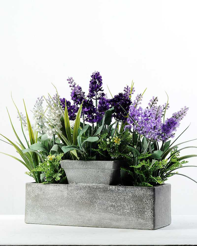 20 Heads Lavender Silk Flower in Paper Pulp pot  Artificial Flowers FactoryManufacturers