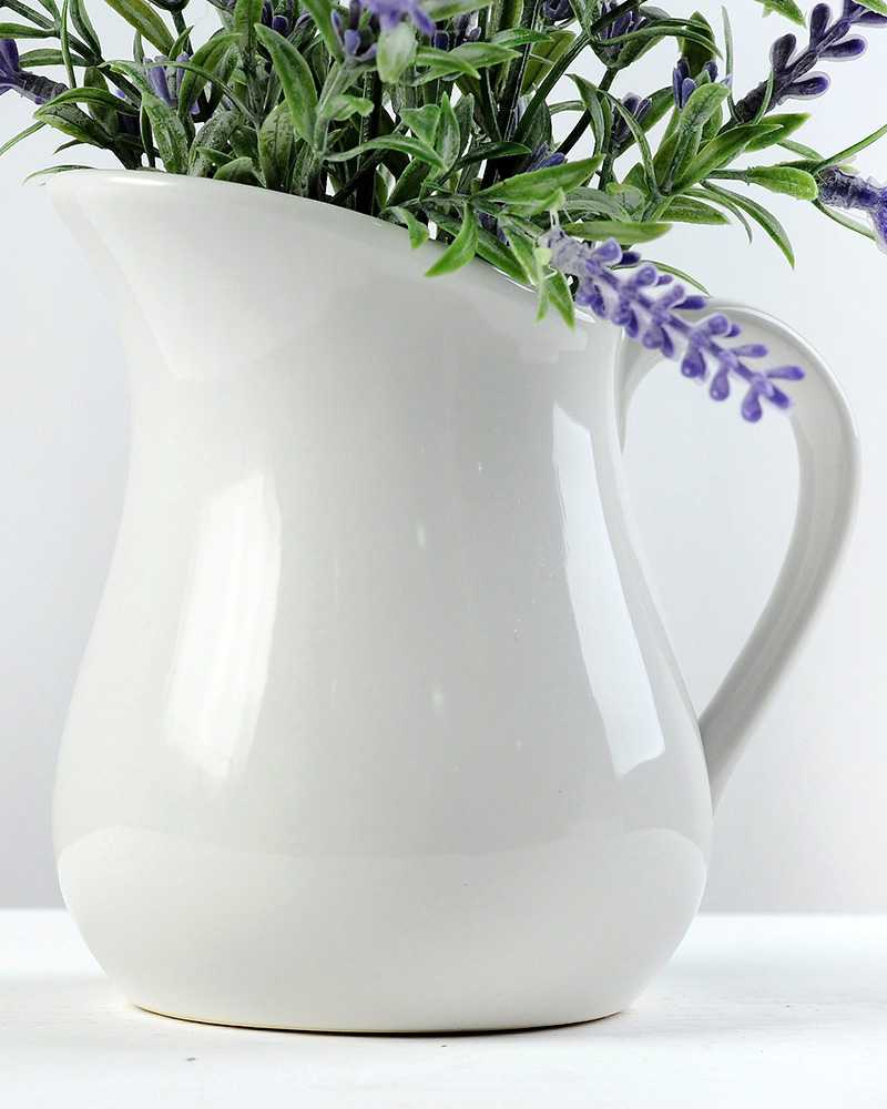 25cm Lavender Silk Flower In Ceramic Jug Artificial