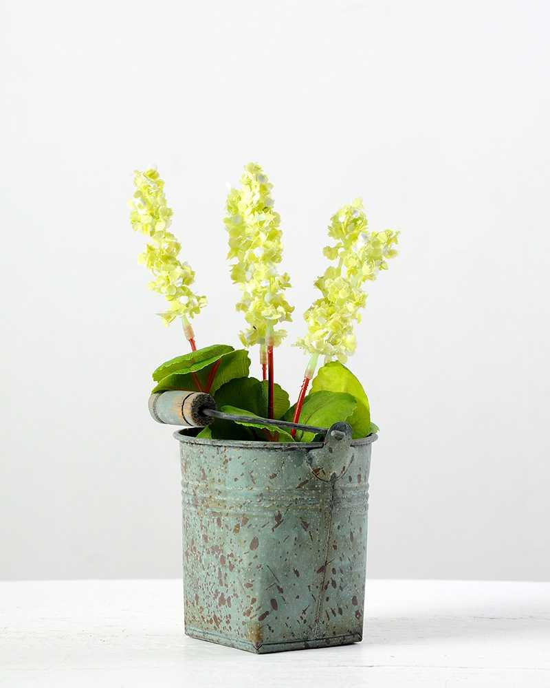 5 Heads Lavender Silk Flower In Metal Pot Artificial Flowers