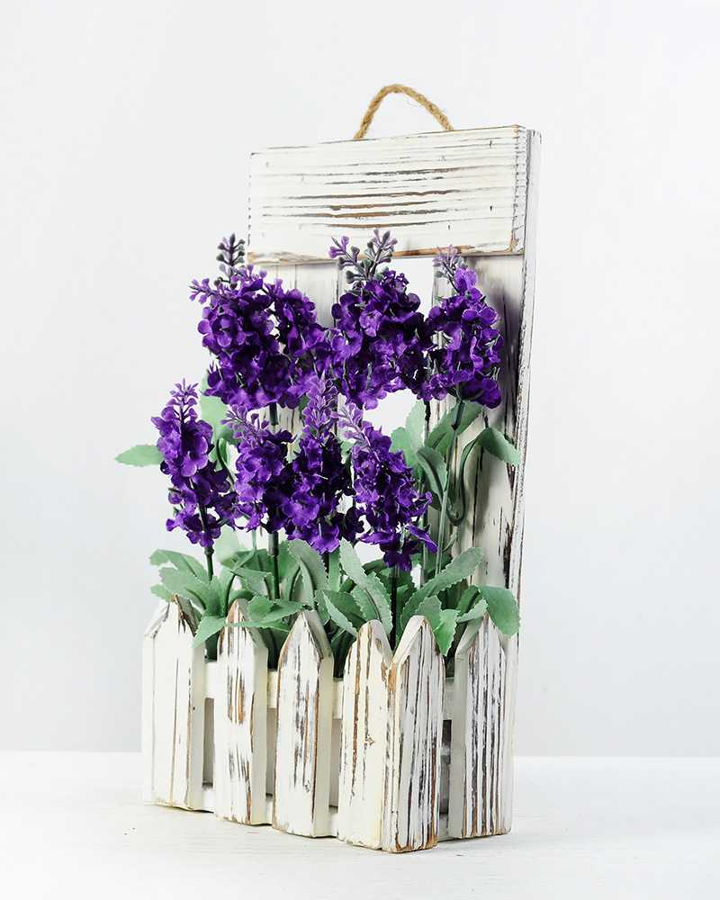 27cm Lavender Silk Flower in Wood Planter  Artificial Flowers FactoryManufacturersDesign