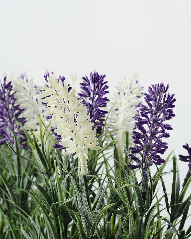 21cm Lavender Silk Flower in Wooden Planter  Artificial Flowers FactoryManufacturersDesign
