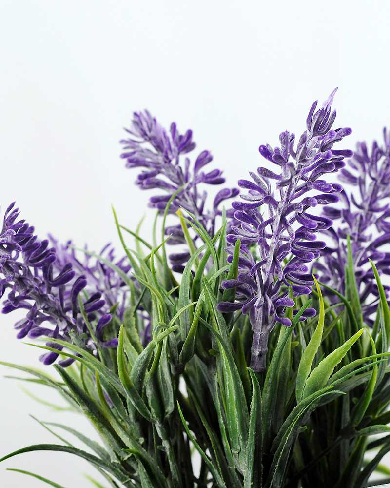 6 Heads Lavender Silk Flower in Ceramic pot  Artificial Flowers FactoryManufacturersDesign