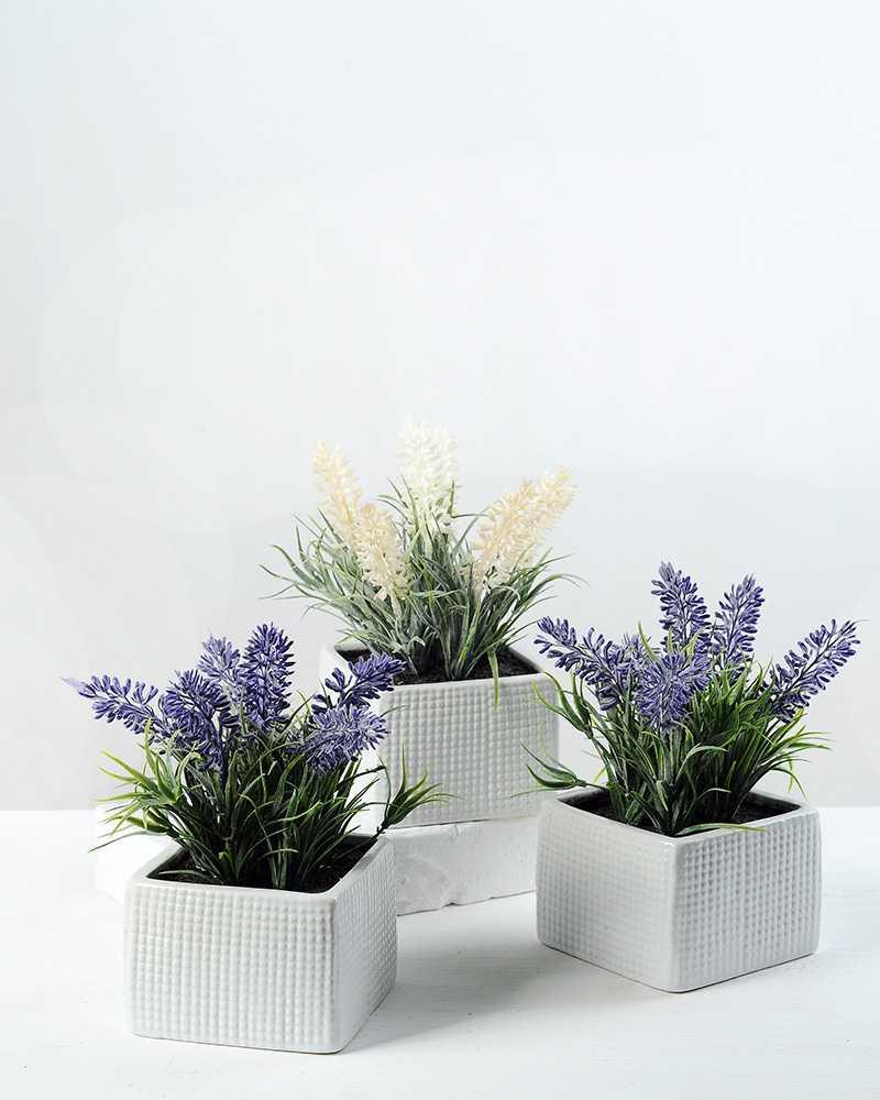 6 heads lavender silk flower in ceramic pot artificial for 6 ceramic flower pots