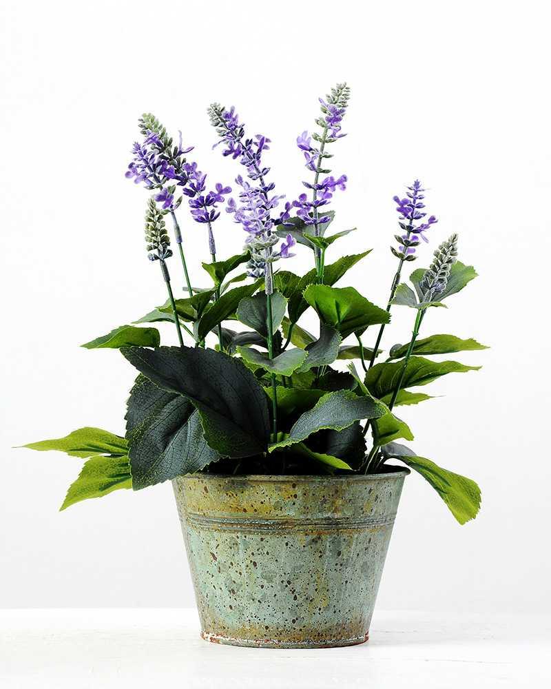 34cm Lavender Silk Flower In Metal Pot Artificial Flowers Factory