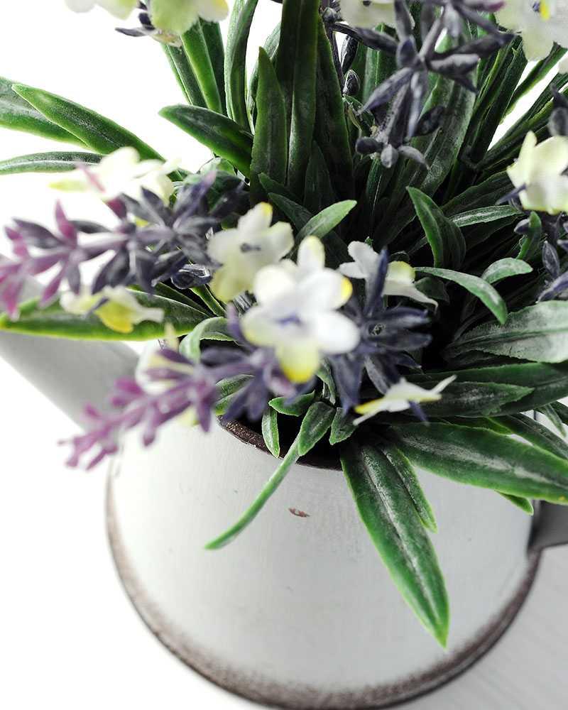 18cm Lavender Silk Flower In Metal Watering Can Artificial Flowers