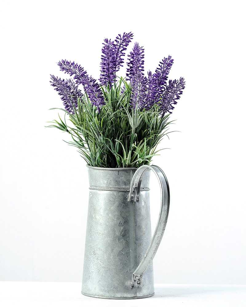 27cm Lavender Silk Flower in Metal Jug  Artificial Flowers FactoryManufacturersDesignChina