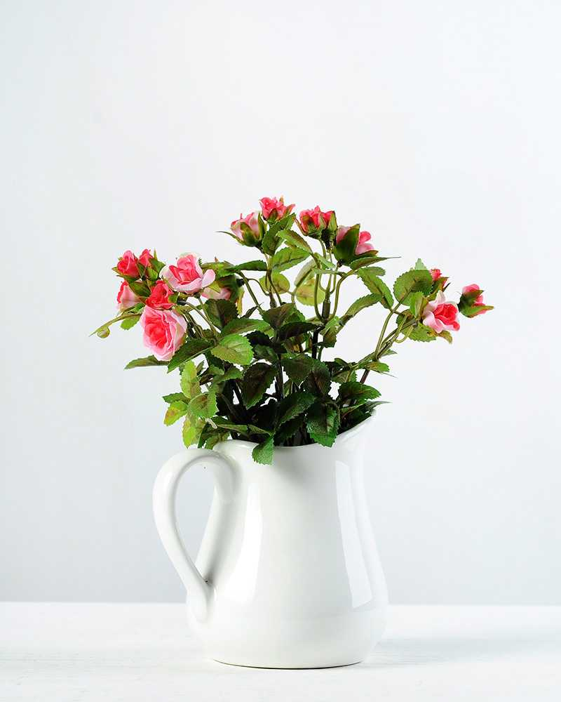 19cm Mini Rose And Berry Silk Flower In Ceramic Jug