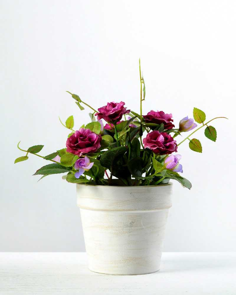 20cm Mini Rose Silk Flower In Paper Pulp Pot Artificial Flowers