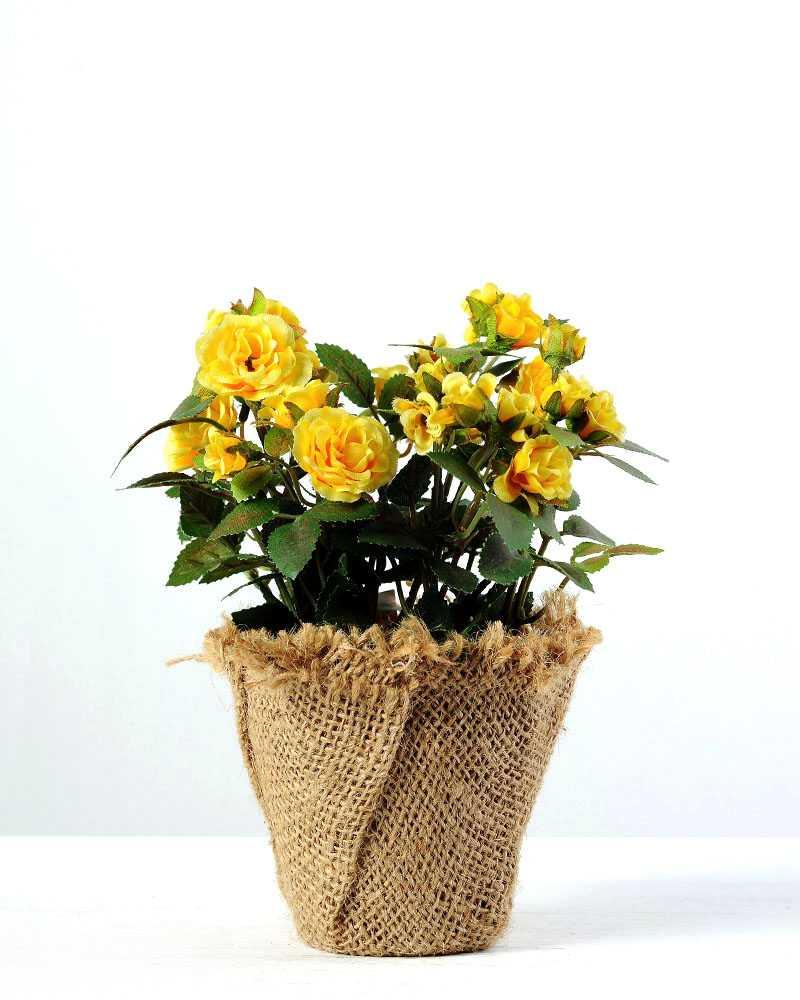 18cm Mini Rose Silk Flower In Paper Pulp Pot Artificial Flowers