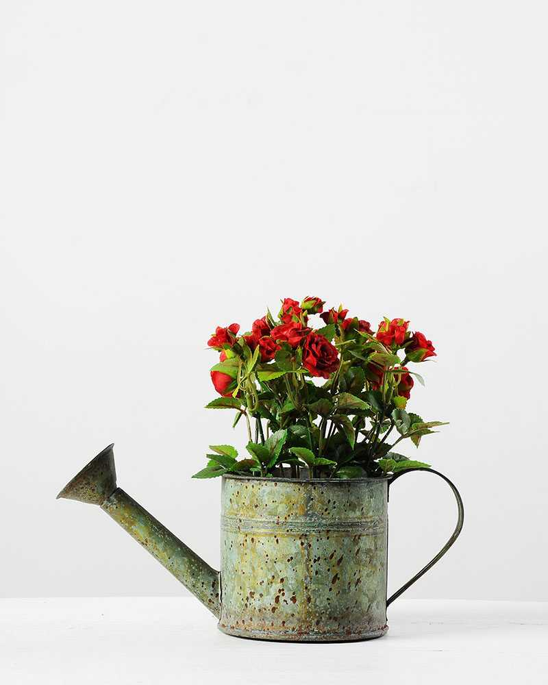 Reali Mini Rose Silk Flower In Metal Pot Artificial Flowers