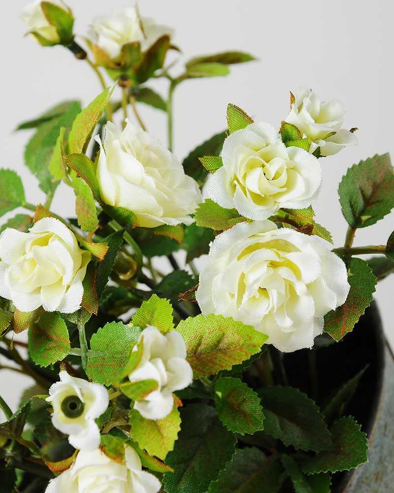 Creative Displays 19cm Mini Rose Silk Flower In Metal Pot