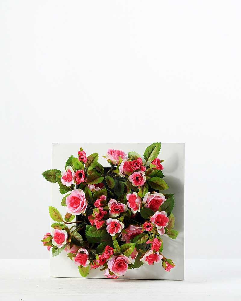 6cm Mini Rose With Wood Planter Silk Flower Arrangement Artificial