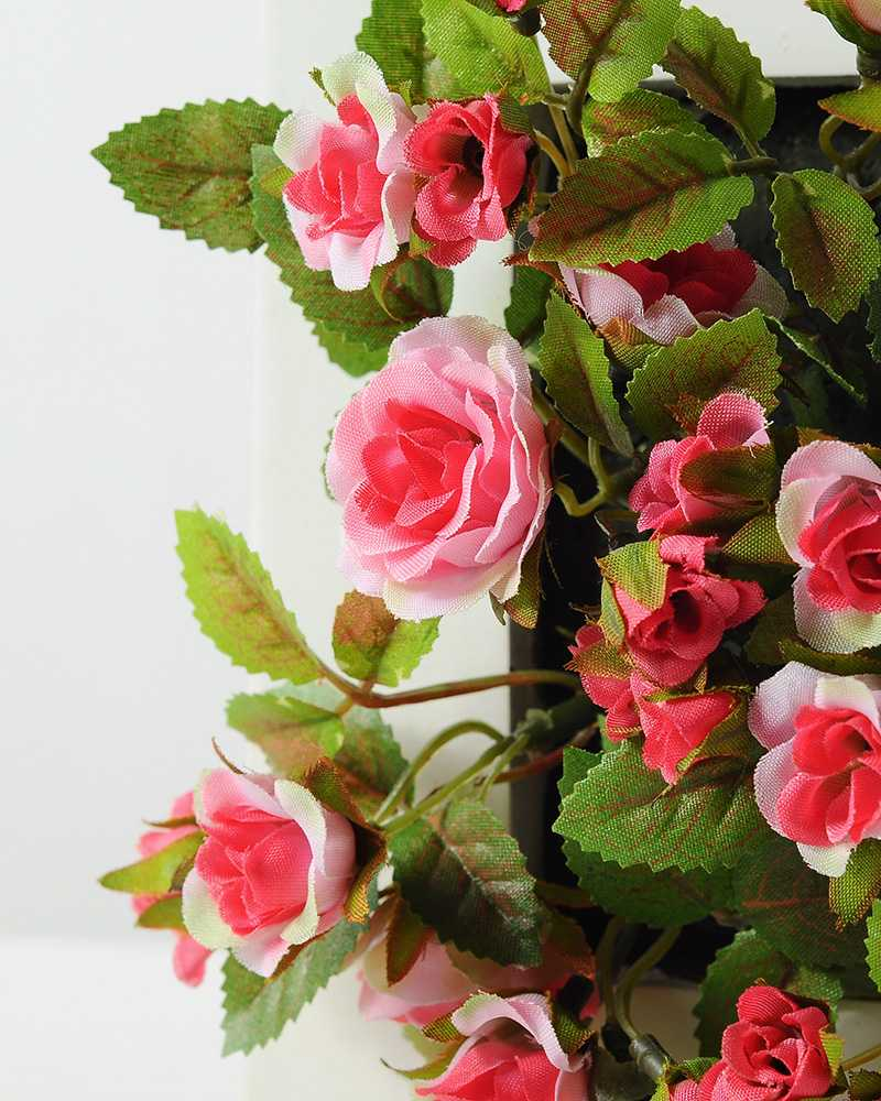 6cm Mini Rose With Wood Planter Silk Flower Arrangement Artificial