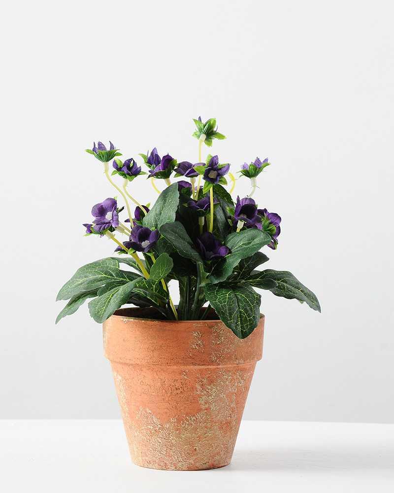 Artificial Flower Decoration: 20cm Mini Silk Wild Flower Silk Flower In Paper Pulp Pot