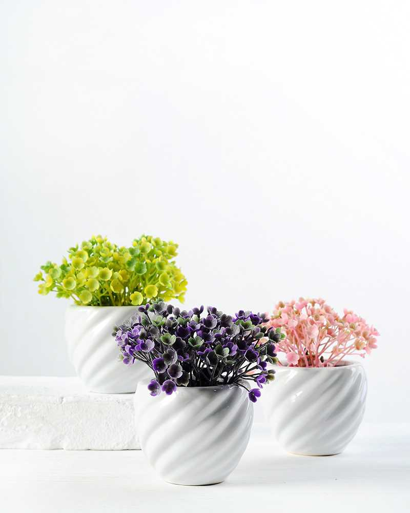 9cm Mini Wild Flower Silk Flower In Ceramic Pot Artificial Flowers
