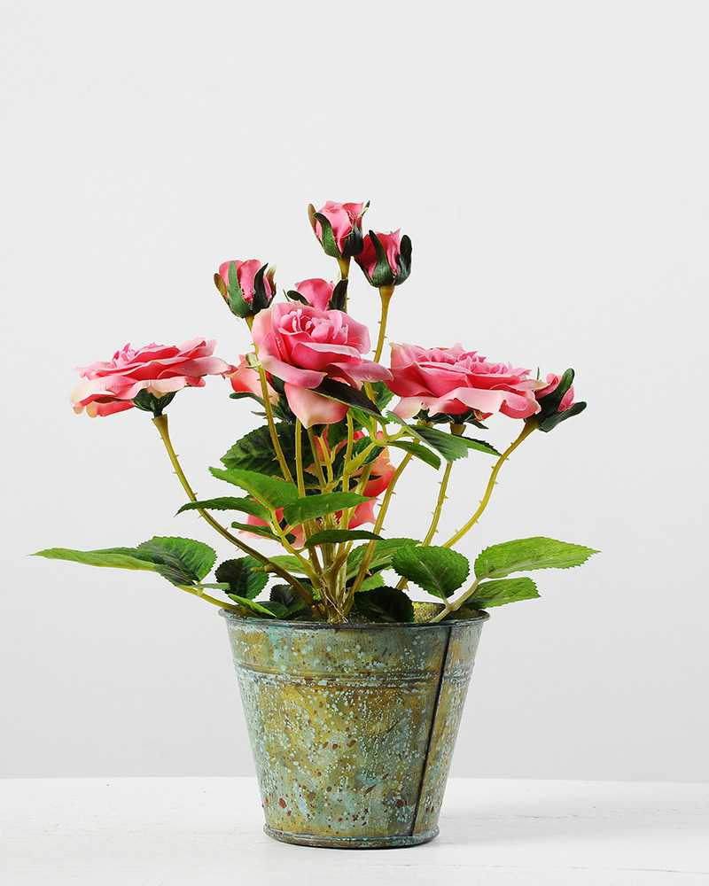25cm rose silk flower in metal pot artificial flowers factory 25cm rose silk flower in metal pot mightylinksfo