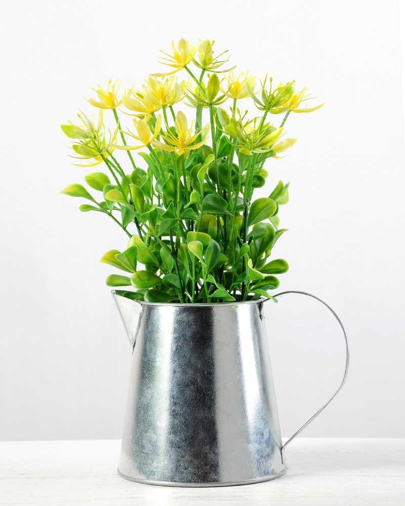 30cm Wild Flower Silk Flower In Metal Jug Artificial Flowers