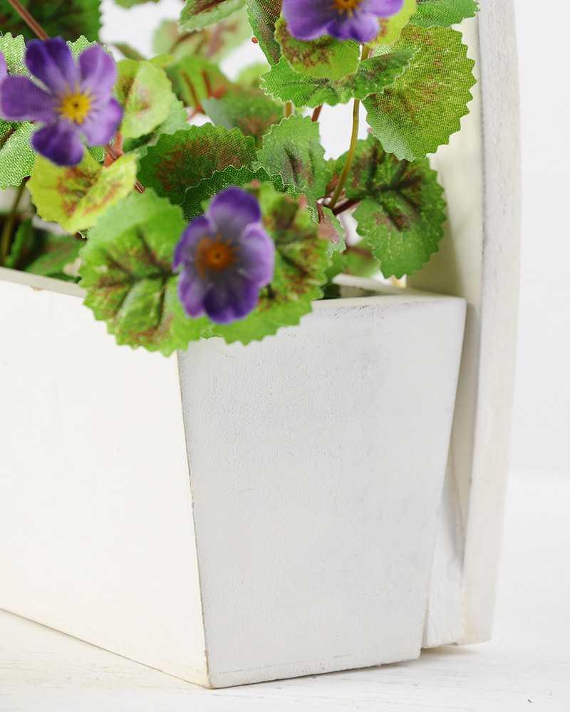 24cm Wild With Wood Planter Silk Flower Arrangement Artificial
