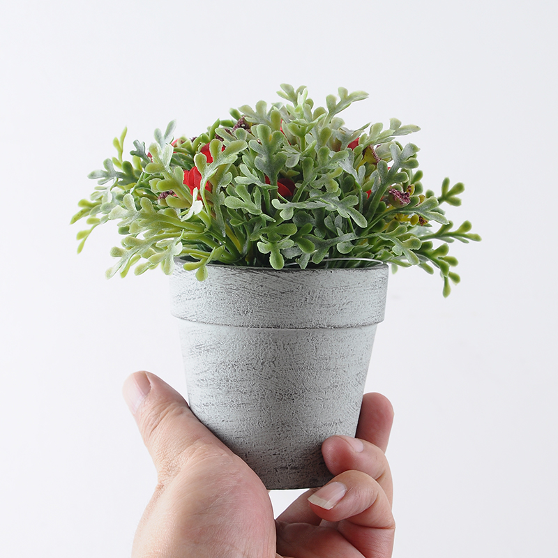 Nordic Style Artificial Mini Wild Potted Plant details1 - Pastoral Style Artificial Flowers Plastic Lavender In Metal Bonsai 2 Colors -In Stock