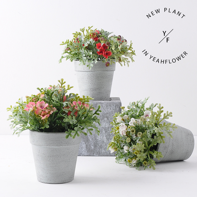 Nordic style Artificial Mini wild potted plant YEAHFLOWER - Mini Plastic Artificial Flowers Potted Plant Bonsai Sack Cloth For Home Decorative 3 Colors -In Stock