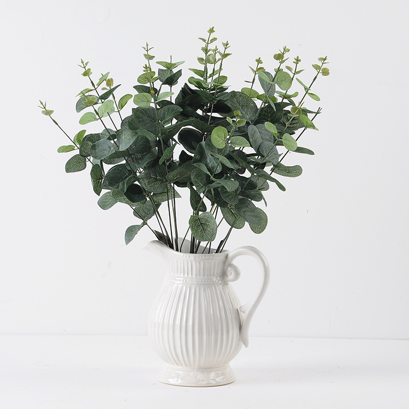 Green artificial leaf decorative Eucalyptus Leave Simulation Plants 1 - Mini Plastic Artificial Flowers Potted Plant Bonsai Sack Cloth For Home Decorative 3 Colors -In Stock