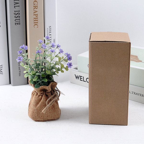 YEAHFLOWER Mini Rural Plastic Artificial Flowers Potted Plant Bonsai Sack Cloth Packing - Mini Plastic Artificial Flowers Potted Plant Bonsai Sack Cloth For Home Decorative 3 Colors -In Stock