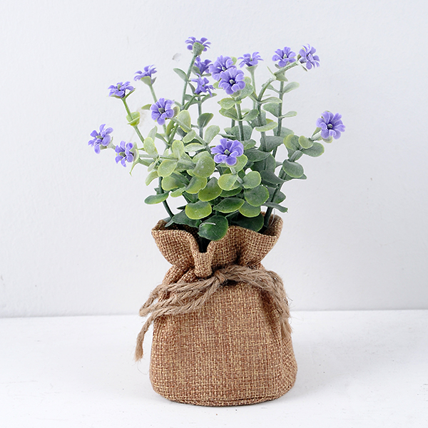 YEAHFLOWER Mini Rural Plastic Artificial Flowers Potted Plant Bonsai Sack Cloth blue - Mini Plastic Artificial Flowers Potted Plant Bonsai Sack Cloth For Home Decorative 3 Colors -In Stock