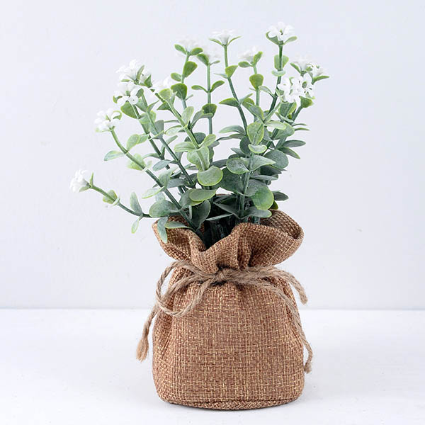 YEAHFLOWER Mini Rural Plastic Artificial Flowers Potted Plant Bonsai Sack Cloth white 1 - Mini Plastic Artificial Flowers Potted Plant Bonsai Sack Cloth For Home Decorative 3 Colors -In Stock