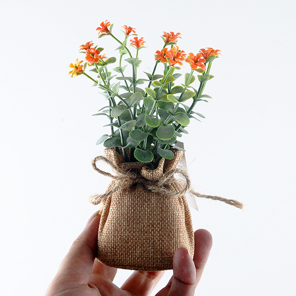 YEAHFLOWER Mini Rural Plastic Artificial Flowers Potted Plant Bonsai Sack Cloth yellow - Mini Plastic Artificial Flowers Potted Plant Bonsai Sack Cloth For Home Decorative 3 Colors -In Stock