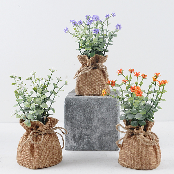 YEAHFLOWER Mini Rural Plastic Artificial Flowers Potted Plant Bonsai Sack Cloth - Mini Plastic Artificial Flowers Potted Plant Bonsai Sack Cloth For Home Decorative 3 Colors -In Stock