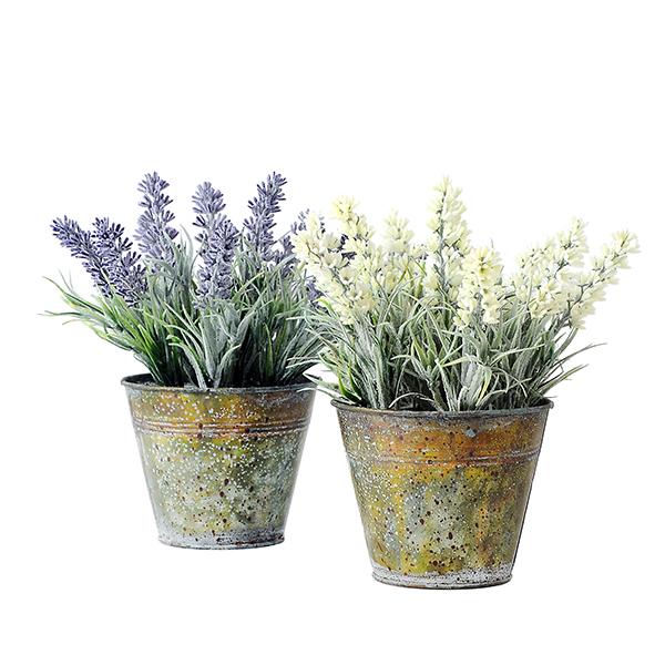 yeahflower Pastoral Style Artificial Flowers Plastic Lavender In Metal Bonsai 2 Colors - Pastoral Style Artificial Flowers Plastic Lavender In Metal Bonsai 2 Colors -In Stock