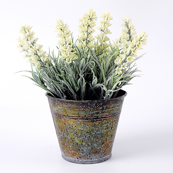 yeahflower Pastoral Style Artificial Flowers Plastic Lavender In Metal Bonsai White - Pastoral Style Artificial Flowers Plastic Lavender In Metal Bonsai 2 Colors -In Stock