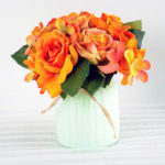 Artificial Flower H:16cm Rose Hydrangea in Glassware GS-6660581-O1