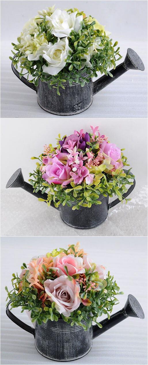 Artificial Flower Rose In  Watering Can Kettle Garden Flower Pot Plant
