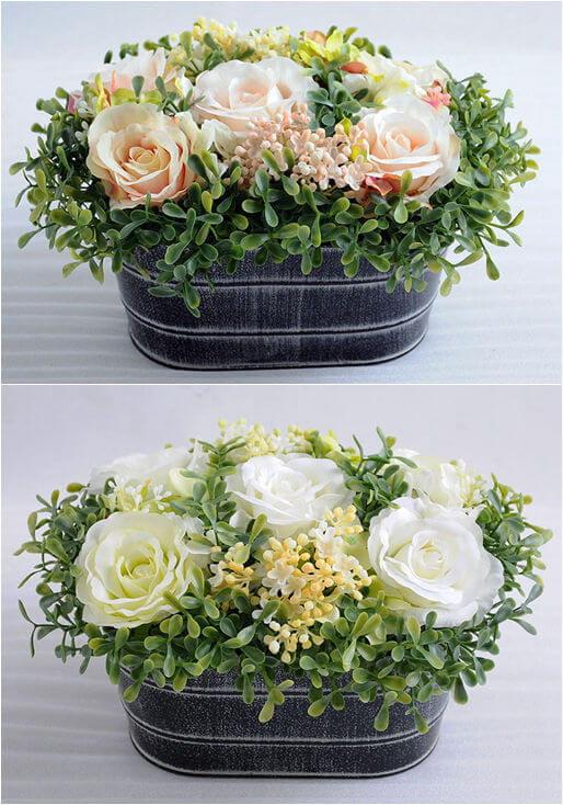 Artificial Flower Rose in Retro Pot