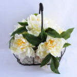 Artificial Flower 30*25*26cm peony in metal frame with flax bag GS-06919022-W1