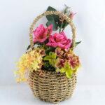 Artificial Flower 15*18*30cm rose hydrangea in basket GS-06919028-R1