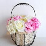 Artificial Flower 20*20*30cm rose hydrangea in basket GS-06919029-P2