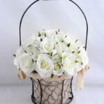 Artificial Flower 25*25*36cm rose in metal frame with flax bag GS-06919025