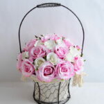 Artificial Flower 25*25*36cm rose in metal frame with flax bag GS-06919025-P2