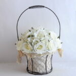 Artificial Flower 25*25*36cm rose in metal frame with flax bag GS-06919025-W1
