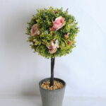 Artificial Tree TOPIARY BALL WITH ROSE IN PAPER POT GS-0690530A-P1