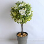 Artificial Tree TOPIARY BALL WITH ROSE IN PAPER POT GS-0690530A-W1